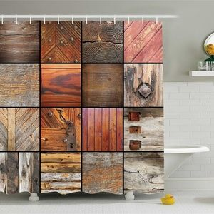 Shower Curtain Rustic Wooden Panels Collage Print